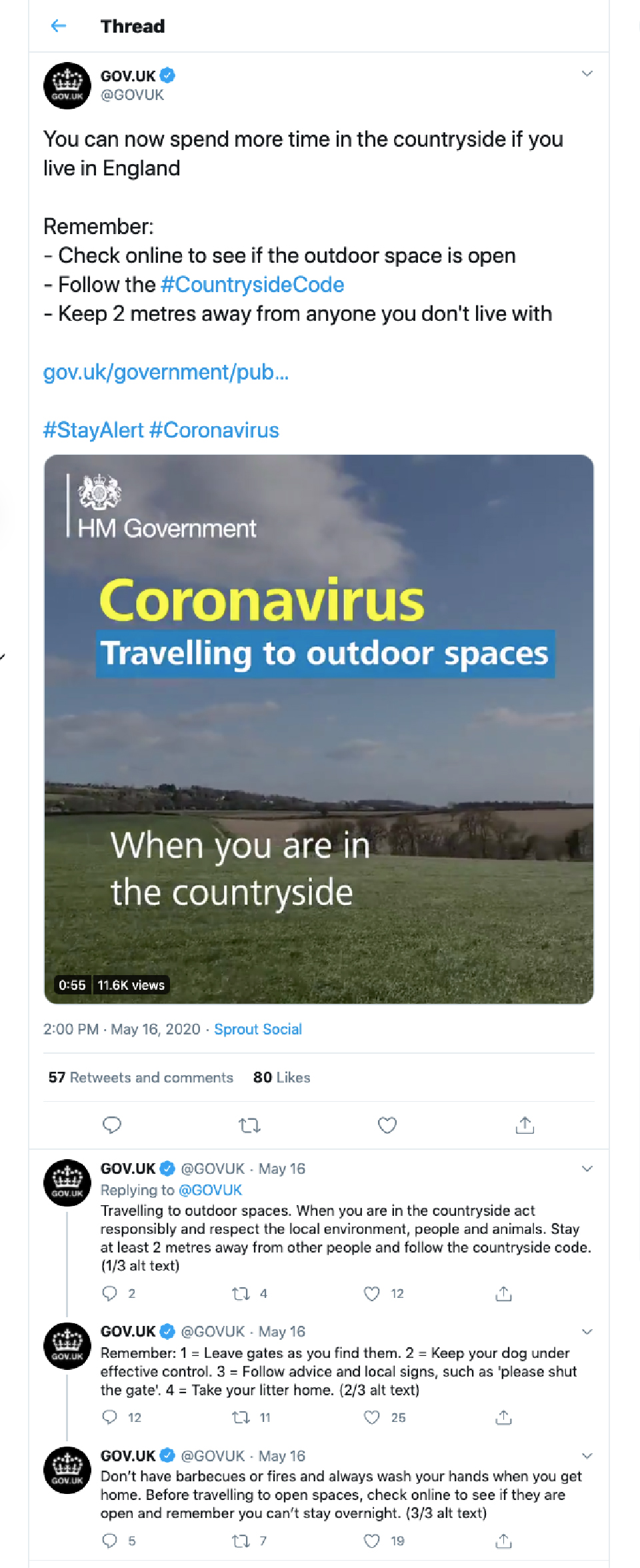 Twitter feed of the GOV.UK feed about COVID-19
