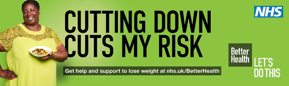 Cutting down cuts my risk. Get help and support to lose weight at NHS.UK/BetterHealth. NHS. Better Health. Let's do this.